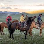 Монгольские всадники в поле
