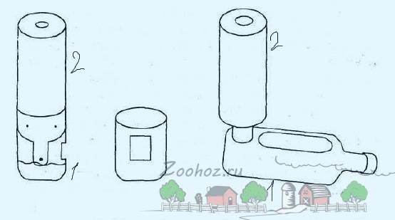 Схема самодельной кормушки из пластиковых бутылок