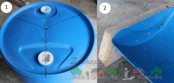 Пример деления бочки и крепежа деревянных брусков