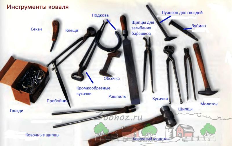 Разнообразные инструменты кузнеца