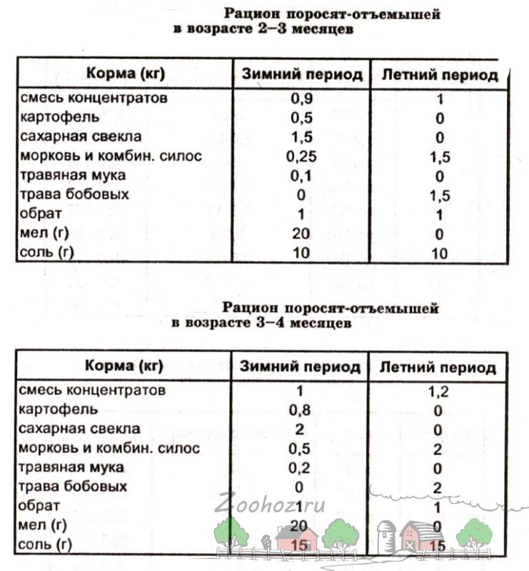 Таблица рациона отъемышей