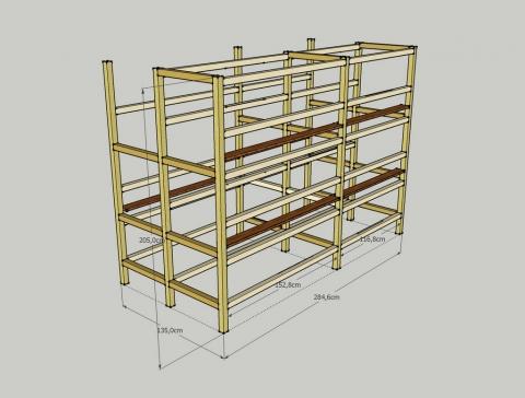 Схема каркаса из деревянных