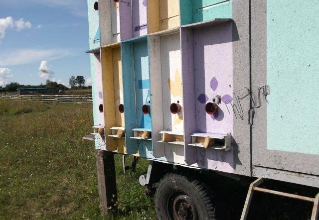 Мобильный пчелопавильон с опознавательными знаками