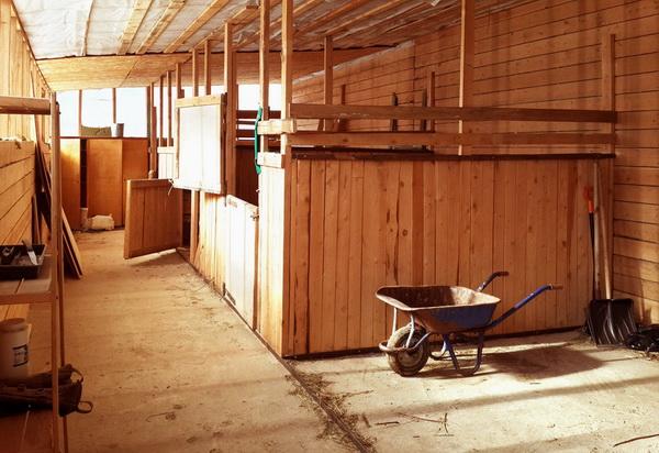 Пример деревянной домашней конюшни