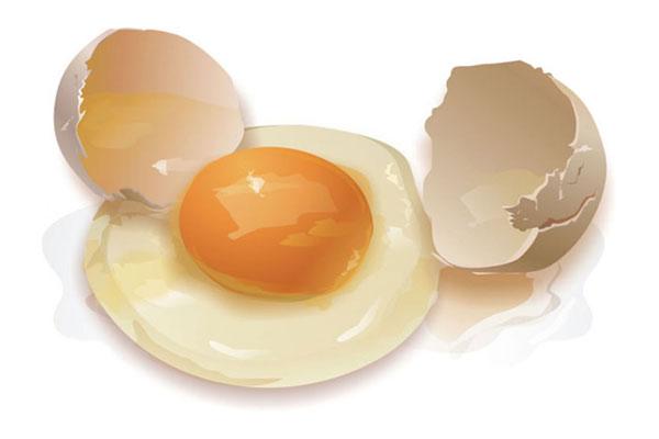 Сырое яйцо на белом фоне